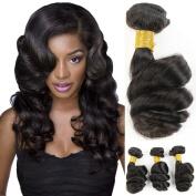 Loose Wave Brazilian Virgin Human Hair Extensions 3 bundles Unprocessed Hair Bundles Natural Black Hair weave 4 Bundles Hair Products for Black Women Girl 30cm - 70cm 100g/Bundles