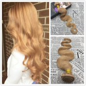 Moresoo 60cm 100g Human Hair Sew in Weave Extensions Caramel Blonde/#27 Remy Hair Wefts with No Clips Coloured Brazilian Remy Human Hair