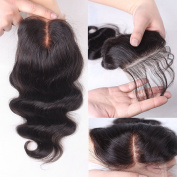 Rishang Hair 3.5x 4 Body Wave Lace Closure Brazilian Virgin Hair Lace Closure with Bleached Knots Middle Part Human Hair Closure with Baby Hair Lace Front Closures