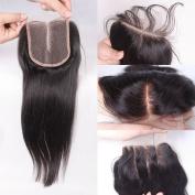 Rishang Hair Brazilian Virgin Hair Closure 3.54 Brazilian Straight Lace Closure Middle Part Human Hair Closure with Bleached Knot