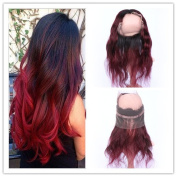 Tony Beauty Hair Two Tone 1B/99J Wine Red Ombre 360 Lace Band Frontal Pre Plucked Body Wave Burgundy Red Ombre Full Frontal 360 Band Lace Closure With Baby Hair 20cm - 60cm
