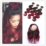 Tony Beauty Hair Burgundy Ombre Brazilian Human Hair Weaves With 360 Band Lace Frontal Pre Plucked 1B/99J Wine Red Ombre Full Frontal 360 Band Closure With 3 Bundles Body Wave Wavy