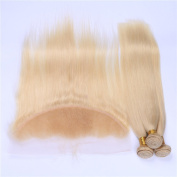Tony Beauty Hair Silky Straight #613 Blonde Ear to Ear 13x4 Full Lace Frontal Closure With 3 Bundles Peruvian Human Hair Bleach Blonde Weaves Extensions 4Pcs Lot