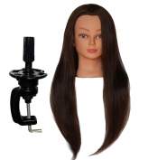 ZDella 100% Human Hair 70cm - 70cm Mannequin Head Hairdresser Training Head Manikin Cosmetology Doll Head with Clamp