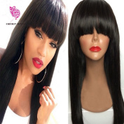 Hot Selling Peruvian Virgin Hair Full Fringe Wig Human Hair Glueless Full Lace Wig With Bangs Bleached Knots Wig For Black Women