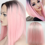 Ebingoo Black Ombre Pink Straight Short Bob Synthetic Lace Front Wig Heat Resistant Synthetic Hair Replacement Wigs for Women