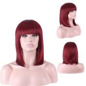 DENIYA Red Bob Wig with Bangs for Black Women Party Wigs