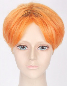 OYSRONG 30cm Handsome Orange Short Straight Soft Touch Cosplay Lace Cap Wig For Men