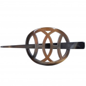 Mary Crafts Buffalo Horn Hair Barrette Hair Clip Stick Pin Handmade Medium Size Grey 5.7cm x 8.3cm