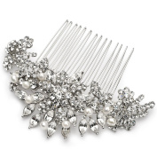 USABride Bridal Comb Silver-Tone Rhinestone & Simulated Pearl Floral Bridal Hair Accessory 2228