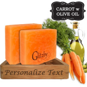Personalised Handmade Soap - Carrot Soap with Olive Oil (2 pack with Bamboo Soap Dish) Cold Process Soap Bar with Tray