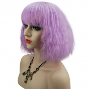 eNilecor Short Fluffy Bob Kinky Straight Hair Wigs with Bangs Synthetic Heat Resistant Women Fashion Hairstyles Custom Cosplay Party Wigs + Wig Cap
