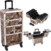 Sunrise Leopard Printing Textured 3-Tiers Accordion Trays 4-Wheels Professional Rolling Aluminium Cosmetic Makeup Case And 6-Tiers Extendable Trays With Dividers - I3464