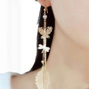 XILALU Butterfly Dragonfly Leaf Drop Long Chain Dangle Earrings Cute Jewellery