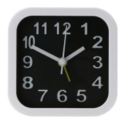 Demiawaking Portable Simple Black White Alarm Clock Desk Table Clock