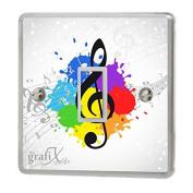 Music Notes & Paint Splats Light Switch Sticker Vinyl / Skin cover sw46