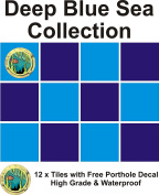 30cm X 15cm X 15cm TILE STICKERS TRANSFER DEEP BLUE SEA COLLECTION WITH FREE PRINTED TRANSFER