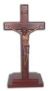 Christian large wood wooden Corpus standing Cross 30cm stepped base crucifix