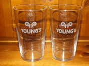 YOUNGS PINT GLASS X 2