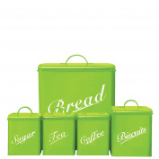 Chef Vida Biscuits/Tea/Coffee/Sugar/Bread Bin Kitchen Storage Canister Set, Metal, Lime, 5-Piece