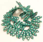 50 Czech Glass Medium Dagger beads (16x5mm) Turquoise Green Opaque Matte with Vitrail Dot. Beading, Jewellery Making