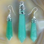 Natural Gemstones Hexagonal Pointed Reiki Chakra Pendant And Earrings Set