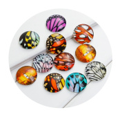 "Best Wing ""20mm Butterfly Wing Printed"" Round Circle Glass Dome Seals Cabochon Flat Back"
