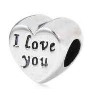 I Love You Silver Heart Charm Bead Sterling Silver 925 for Pandora Charms Bracelet
