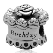 Happy Birthday Cake Authentic 925 Sterling Silver Charms Bead for Best Brithday Gift