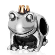 Gold Plated Crown Frog Prince Charm Genuine Sterling Silver Bead For European Brand Bracelet Compatible