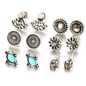Wivily Retro Rhinestone Turquoise Beautiful Stud Earings Set for Women Girls