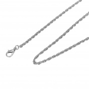 HooAMI Silver Diamond-Cut Rope Chain Necklace 60cm For Unisex