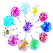 12pcs Mutilcolor Round Surface Dried Pressed Real Flower Transparent Resin Crystal Pendant