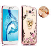 Galaxy J7 Floral Crystal TPU Case--Inspirationc Soft Slim Bling Plating Rubber Cover for Samsung Galaxy J7 with Rhinestone Diamond and Detachable 360 Ring Stand--Rose Gold and Pink