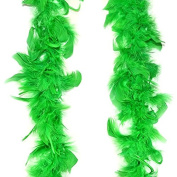 St. Patrick's Day Feather Boas ~ Set of Two Green with Silver Tinsel Strands