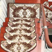 yazi Brown Stair Pads Durable Floor Carpet European Style Tread Mats for Home Decoration 24x75cm