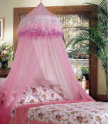 COSTWAY Elegant Lace Bed Mosquito Netting Mesh Canopy Princess Round Dome Bedding Net