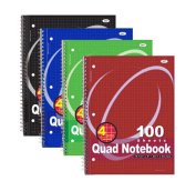 RamPro #007 Quad-ruled Spiral Notebook 100 Count, Assorted Colours (27cm X 20cm )