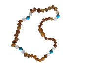 Certified Baltic Amber and Agatha-Turquoise Necklace By UMAI - Pain Relief From Teething - Unisex- Safely Knotted Beads