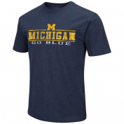 Michigan Wolverines Adult NCAA Soft Vintage Logo T-Shirt - Navy ,