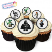 24 Edible round cake toppers