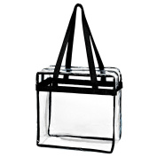 Crystal Clear Transparent PVC Plastic Women Black Shoulder Strap Tote Bag with Zippered Top Closure