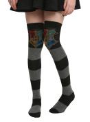 Harry Potter Hogwarts Crest Striped Over-The-Knee Socks
