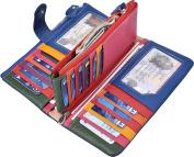 Woogwin Womens Wallet Lady Trifold Genuine Leather Clutch Wallet Zip Card Wallet