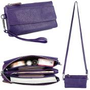 YALUXE Women's Leather Smartphone Wristlet Crossbody Clutch with RFID Blocking Card Slots