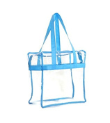 Deluxe Clear Tote Bag w/Zipper, NFL Stadium Approved Security Bag, 12x12x6, Clear Vinyl, Shoulder Straps, Coloured Trim, Heavy Duty