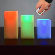 Sentik Set of 3 Colour Changing Square Flameless Wax Mood Candles with Timer and Remote Control
