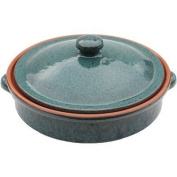 Amazing Cookware 25 cm Terracotta Round Dish with Lid, Peacock Green