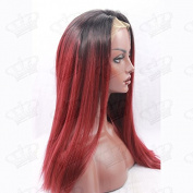 Beauty_temptation Ladies Ombre Dark Root Black/Wine Red Straight Glueless Synthetic Lace Front Wig