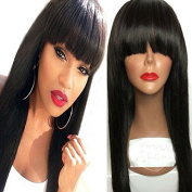 Ten Chopstics 9A Silky Straight Human Hair Bangs Lace Front Wigs for Black Women Glueless Full Lace Wig Brazilian Wig Natural Baby Hair